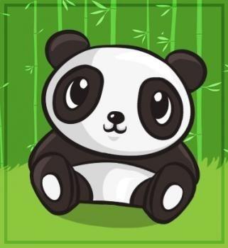 panda chibi sur fond de bambous