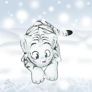 Tigre Blanc Manga Dans La Neige