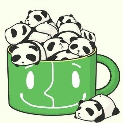 plein de pandas manga dans 1 tasse verte trop mignons