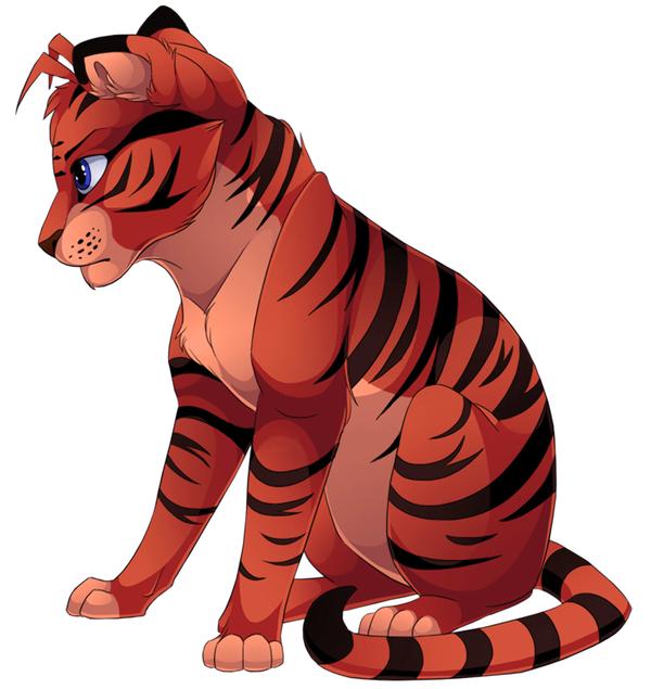 Tigre manga yeux bleus assis - Animaux manga ...