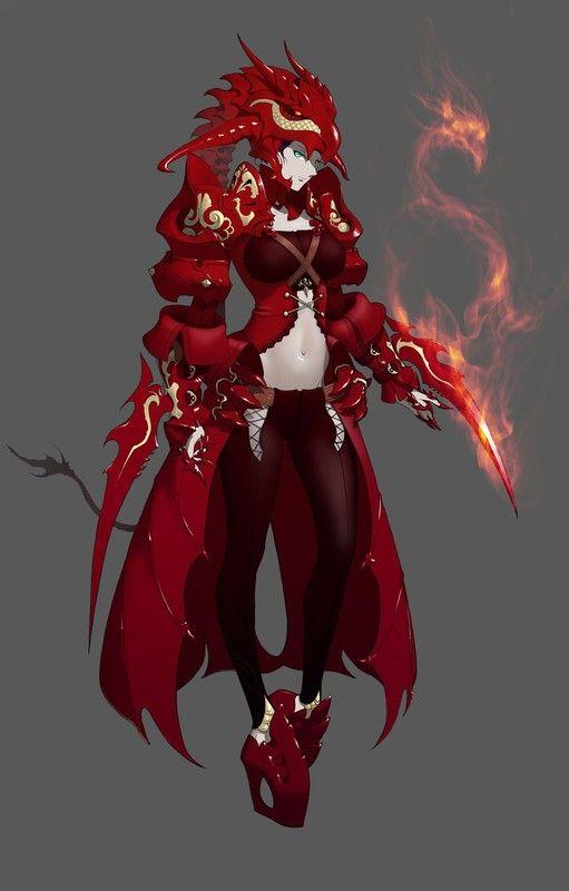 Femme dragon manga en armure carlate - Femme chat manga ...
